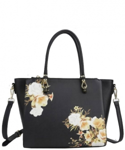 Flower Printed Day Satchel L0978 BLACK
