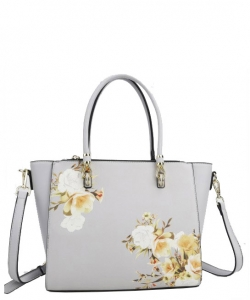 Flower Printed Day Satchel L0978 GRAY