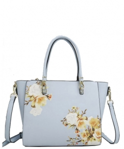 Flower Printed Day Satchel L0978 LBLUE