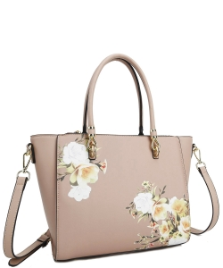 Flower Printed Day Satchel L0978 TAN