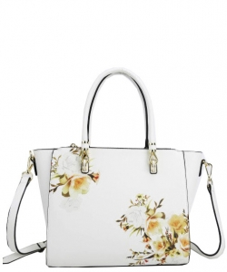 Flower Printed Day Satchel L0978 WHITE