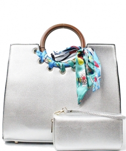"Wood Handle Trendy "" 2 In 1 "" Fashion Bag SE557 SILVER"