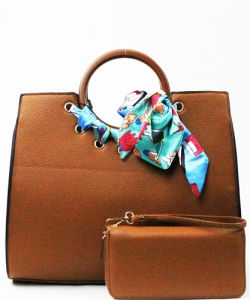 "Wood Handle Trendy "" 2 In 1 "" Fashion Bag SE557 TAN"