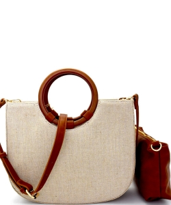 Two In One Denim Canvas Ring Handle Satchel Bag BGA2500 CREAM