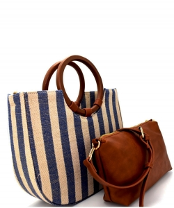 Two In One Denim Canvas Ring Handle Satchel Bag