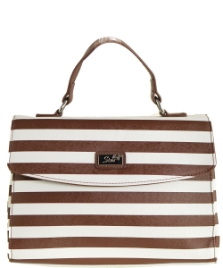 Refined Striped Tote Bag 1613-6 BROWN
