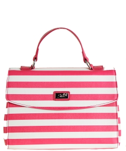 Refined Striped Tote Bag 1613-6 FUSHIA