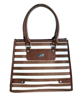 Refined Striped Tote Bag 1613-3 BROWN