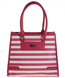 Refined Striped Tote Bag 1613-3 FUSHIA