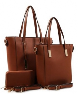 3 in 1 Chic Modern Fashion Satchel Bag BS-T1738 BROWN