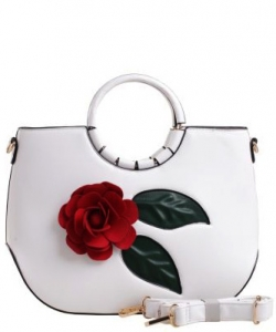 3D Flower Wooden Top Handle Satchel LW1532 WHITE