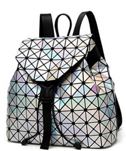 Matte Geometric Checkered BackPack A81068 SILVER