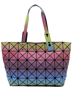 Matte Geometric Checkered Shopper A81063 COLOR