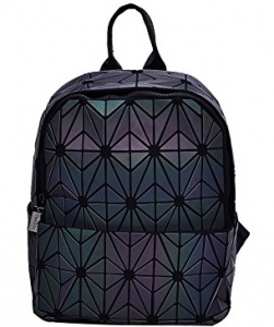 Matte Geometric Checkered BackPack A81067 LUMINOUS