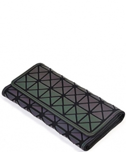 Women Geometric Rhomboids Lattice Long Wallet