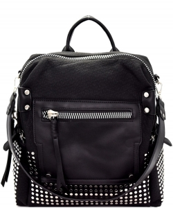 Studded Multi-Pocket Convertible Fashion Backpack