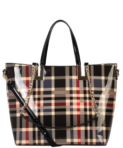 Diophy Shiny Patent PU Leather Plaid Pattern Large Tote Handbag GZ7002 BLACK