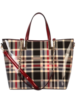 Shiny Patent PU Leather Plaid Pattern Large Tote Handbag GZ7002 RED