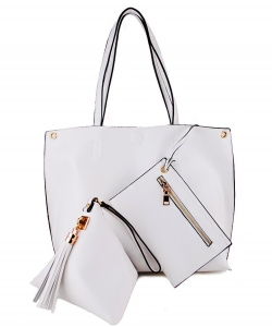 "3 In 1"" Fashion Bag Top Magnetic Open/Closure SM305 WHITE"