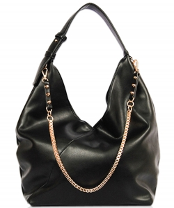 Solid Long Chain Accented Hobo Bag FL1560 BLACK