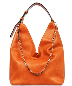 Solid Long Chain Accented Hobo Bag FL1560 BROWN