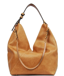 Solid Long Chain Accented Hobo Bag FL1560 CAMEL