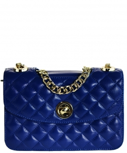 Luxury Genuine Leather Classic Clutch with Chain MTX18 BLUE