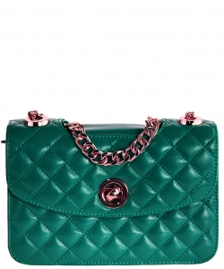 Luxury Genuine Leather Classic Clutch with Chain MTX18 GREEN
