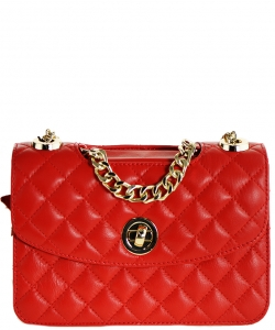 Luxury Genuine Leather Classic Clutch with Chain MTX18 RED