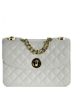 Luxury Genuine Leather Classic Clutch with Chain MTX18 WHITE
