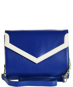Luxury Genuine Leather Envelope Clutch with Chain MTX4 BLUE