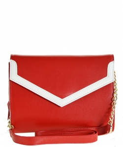 Luxury Genuine Leather Envelope Clutch with Chain MTX4 RED