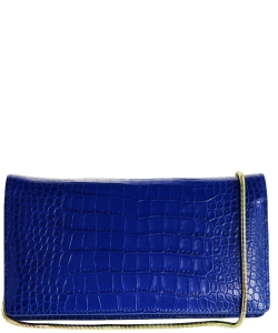Luxury Genuine Leather Classic Clutch with Chain MTX16 BLUE