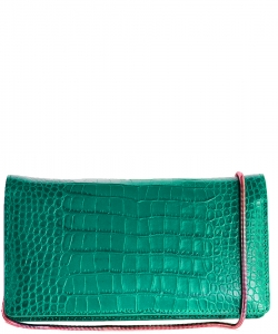 Luxury Genuine Leather Classic Clutch with Chain MTX16 GREEN