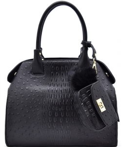Animal Textured Satchel With Pom Pom Pouch BW1488 BLACK