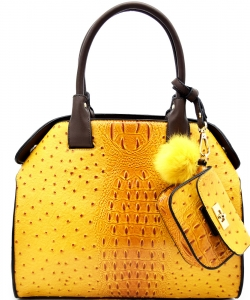 Animal Textured Satchel With Pom Pom Pouch BW1488 MUSTARD