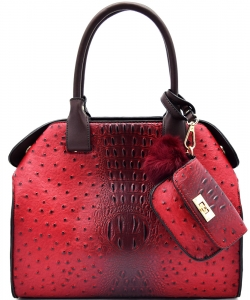 Animal Textured Satchel With Pom Pom Pouch BW1488 RED