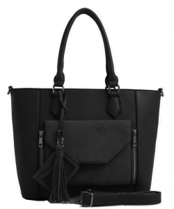 2 IN1 Fashion Tote Bag - EW-1416 BLACK
