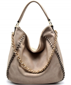 Chain Accent Whipstitched Hobo SS1192-LP STONE