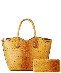 Ostrich Croc Satchel w/ Wallet TU6728W  YELLOW