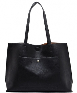 Fashion Front Pocket Reversible Tote WZ6790 BLACK