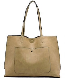 Fashion Front Pocket Reversible Tote WZ6790 TAUPE