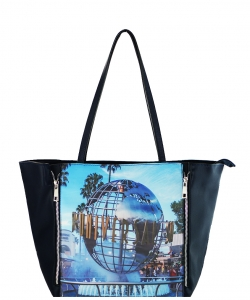 Large Tote Womens Magazine Purse Handbag A81053 -2 BLUE HOLLYWOOD