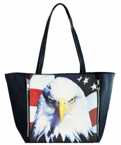 Large Tote Womens Eagle Magazine Purse Handbag A81053 -3 BLUE