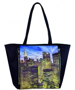 Large Tote Womens New York Magazine Purse Handbag A81053 -4 BLUE