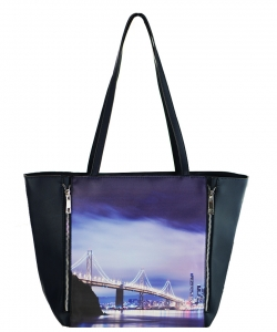 Large Tote Womens Golden Bridge Magazine Purse Handbag A81053 -6 BLUE