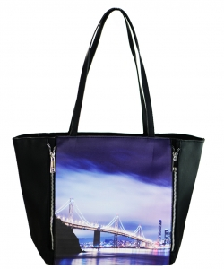 Large Tote Womens Magazine Purse Handbag A81053 -6 BLACK