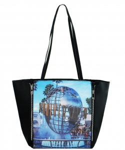 Large Tote Womens Magazine Purse Handbag A81053 -2 BLACK