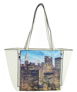 Large Tote Womens Magazine Purse Handbag A81053 -4 WHITE