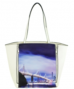 Large Tote Womens Magazine Purse Handbag A81053 -6 WHITE